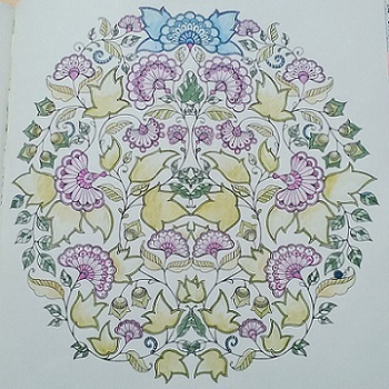 大人の塗り絵 ジョハンナ・バスフォード扇型の花