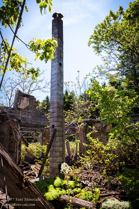 【廃墟写真】霧立国道脇の廃屋_孤独の煙突