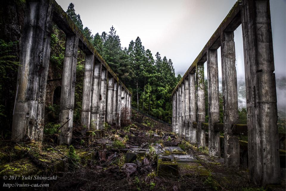 紀州鉱山(紀和鉱山)_インクライン側から選鉱場を見る