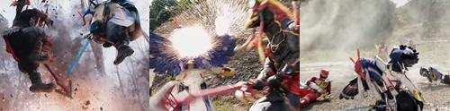 戦隊ヒーロー、キョウリュウジャーが敵にやられて敗北