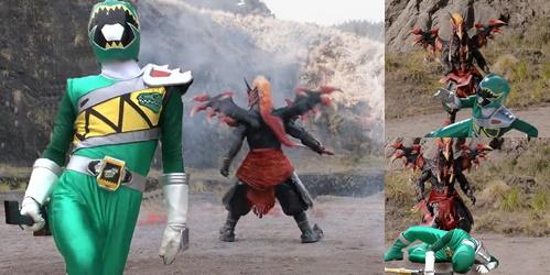 戦隊ヒーロー、キョウリュウジャーのキョウリュウグリーンが敵にやられて敗北