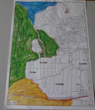 田上遺跡群と若松、牛坂の境図