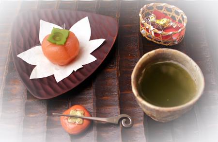 923今日はお煎茶・和菓子柿1 のコピー