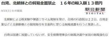 news台湾、北朝鮮との貿易全面禁止 16年の輸入額13億円