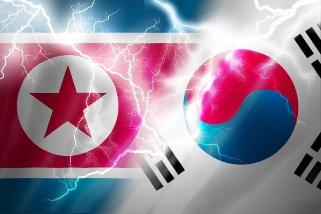 北朝鮮韓国旗