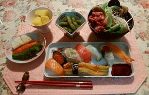忙しい日の晩御飯 お寿司と小すき焼き