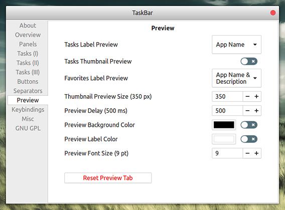 TaskBar Ubuntu GNOME拡張機能 トップバー オプション Preview