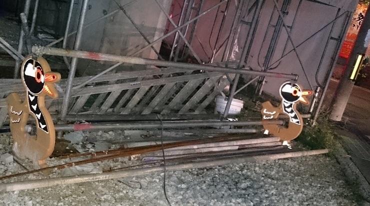 ヤンバルクイナの単管バリケード