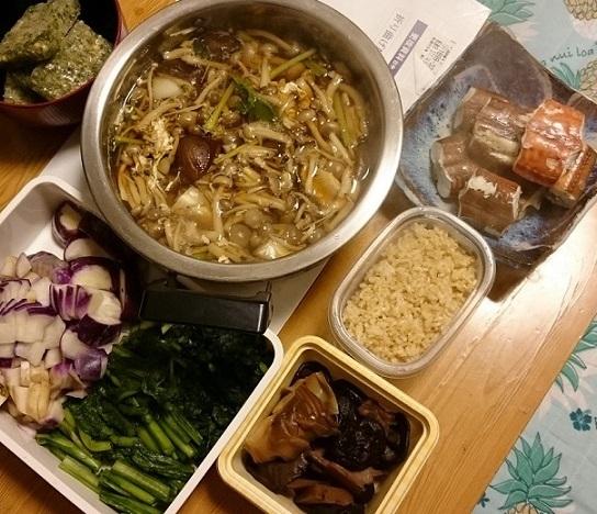 きのこ鍋とヤガラ