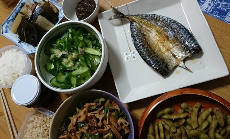 大根と昆布煮物、浅漬け、さしさば、根菜炒め煮、枝豆