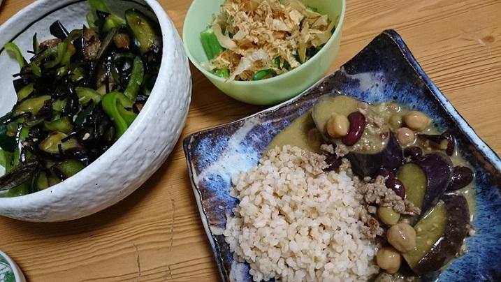 ヤタラ漬け、おくら、豆と茄子のカレー