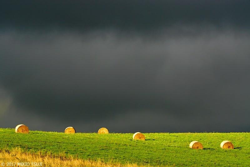 絶景探しの旅 - 0352 暗黒に浮かび上がる牧草ロール (北海道 美瑛町)